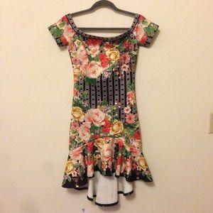 Off shoulder floral scuba dress